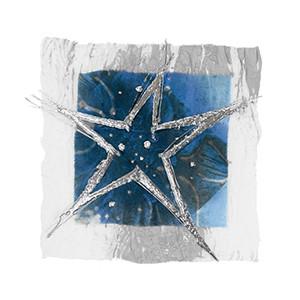 Weihnachtskarte 8356 Kunst blau mit Stern