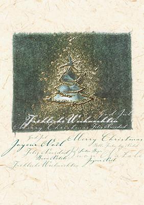 Weihnachtskarte 8621 Kunst Baum mit Gold