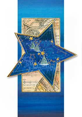Weihnachtskarte 8676 Kunst Stern blau-gold