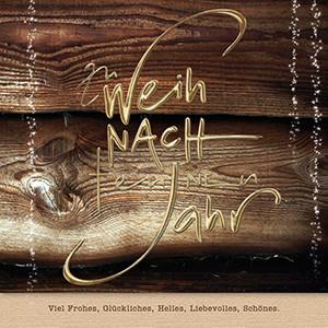 Weihnachtskarte 8738 Holz mit Goldschrift