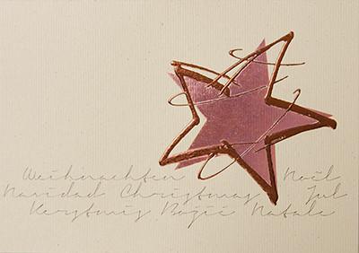Weihnachtskarte 8790 Rinde-Karton mit Stern