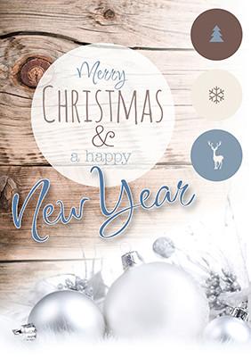 Weihnachtskarte 8815 Holz mit Weihnachtskugel