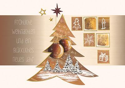 Weihnachtskarte 8819 braun mit Tannenbäumen