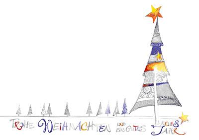 Weihnachtskarte 8823 Kunst Baum violet