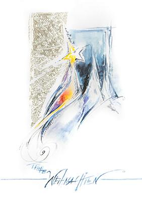 Weihnachtskarte 8824 Kunst blau mit Bäumen