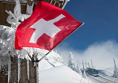 Weihnachtskarte 8856 mit Schweizer Fahne
