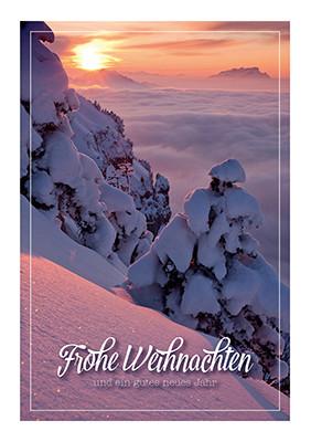 Weihnachtskarte 8858 mit Sonnenuntergang