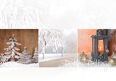 Weihnachtskarte 8860 Collage braun-orange